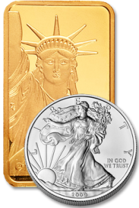 Silver coin and Gold Bullion