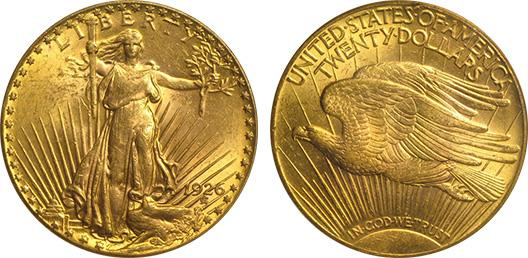 $20 Saint-Gaudens Gold Double Eagle, Numismatic Vlaue: MS-61